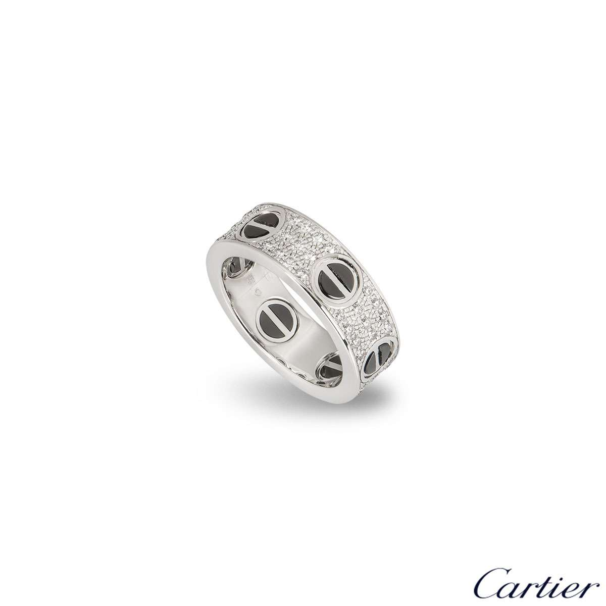 Cartier White Gold Diamond & Ceramic Love Ring Size 49 B4207600